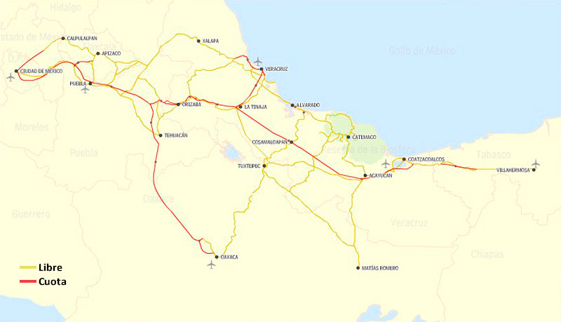 ver ruta libre y de cuota ver ruta sugerida ver mapa de catemaco